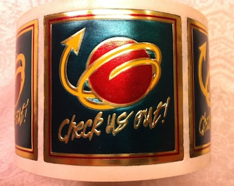 "Foil Mailing Advertising Labels ""Check Us Out"" Gold Red Green Large 2"""