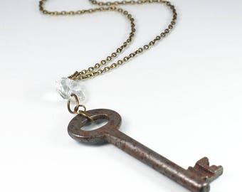 Skeleton Key Necklace- Chandelier Crystal & Rusty Silver Key Necklace, Brass Steampunk Jewelry, Key Pendant Necklace, Bohemian Necklace