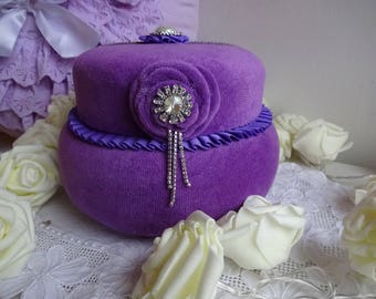 JEWELRY BOX VELVET AND SILK DARK PURPLE