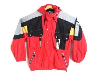 Rad Vintage 90s Ski Jacket Colorblock Hooded Pullover Vtg Obermeyer Men's Large