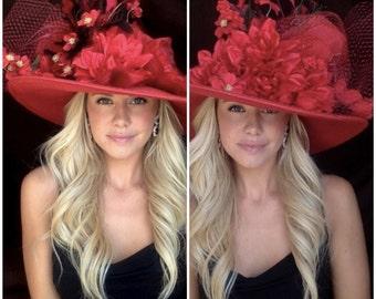 The Red Hot Firecracker - Derby, Church, Polo, Tea, Fashion Hat