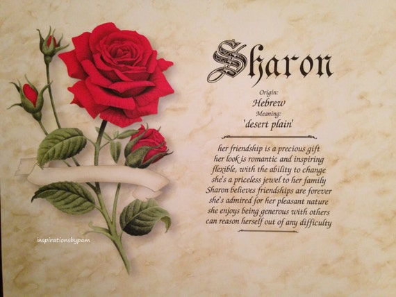 Sharon First Name Meaning Art Print Name Meaning Art