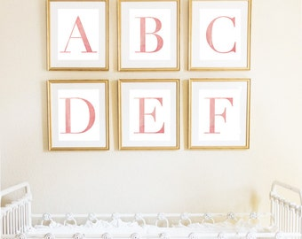 Letter F | Nursery Print | Nursery Art | Alphabet | Instant Download | Digital Print | Wall Art | Baby Girl | Initials | Pink | Watercolor