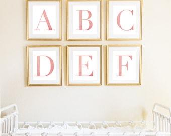 Letter D | Nursery Print | Nursery Art | Alphabet | Instant Download | Digital Print | Wall Art | Baby Girl | Initials | Pink | Watercolor