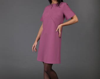 Dusty rose Dress/ Minimalistic/ Midi Dress with bell shaped Sleeves and Pockets/ high-quality/ handmade/ Sphinx Design.lt