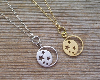 Moon Stars Necklace, Gold Filled Necklace, Sterling Silver Moon Necklace, Dainty Necklace, Celestial Jewelry, Moon Jewelry