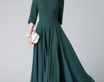 Dark green linen dress, linen full dress, maxi dress, linen dress, linen dress women, cocktail dress, bridesmaid dresses, formal dress 1907