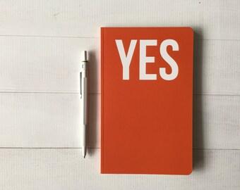 Orange Notebook,  Christmas gift, Stationery gift under 10, Mini Pocket Journal, Orange stationery, Message book, message notebook, yes gift