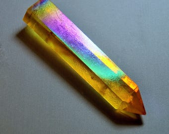 Orange Crystal Tower Spiritual Healing Quartz Gemstone Rainbow 0Q4