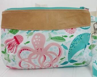 Curvy Clutch w/ Wrist Strap - Sea Life & Italian Lambskin Leather Vs.2