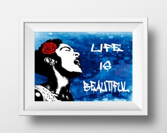 Banksy Poster Print - Life is beautiful graffiti wall art print