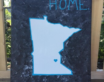 Home Canvas with State Outline // Hand Painted