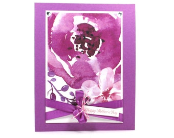 Mother's day cards, watercolor Mother's day cards, magenta, First Mother's day card, Card for mom, Mother's day card floral