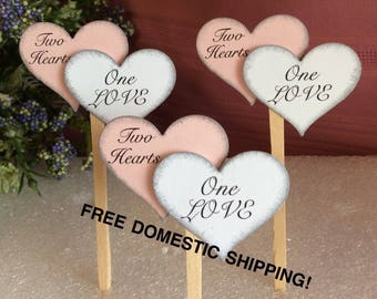 Pink, Valentine, Wedding Cupcake Toppers, Double Heart (8 pieces)