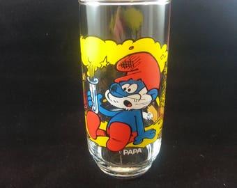 Smurf Promotional Collectible Drinking Glass Peyo Vintage 1982 - PAPA (Free Shipping)
