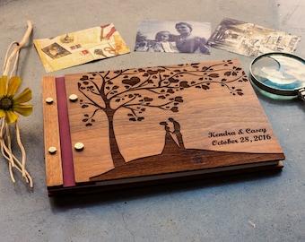 Wedding guest book , Wedding photo album , Custom wedding guest book, Wooden Photobook, wedding gift, Personalized - Walnut