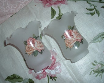 Pair of Vintage Frosted Rose Glass Shades