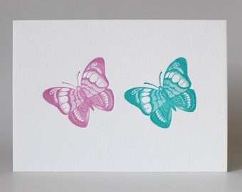 A5 Letterpress print - Butterflies - Limited Edition - Hand-printed - Unframed