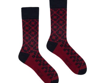 Burgundy mosaic | men dress socks | cool socks | elegant socks | formal socks | patterned socks | colorful socks | geometric socks