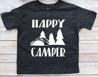 Happy Camper, happy camper toddler, happy camper shirt, toddler boy shirts, toddler shirts, toddler shirt, toddler tee, comfy tee, boy shirt
