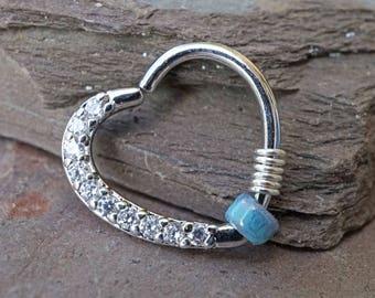 16 Gauge Crystal Silver Heart Daith Rook Hoop Ring Daith Right Ear