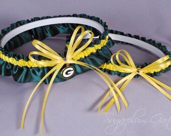 Green Bay Packers Wedding Garter Set - Ready to Ship