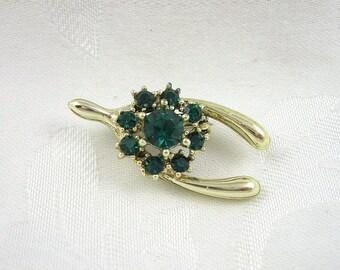 Vintage Wishbone Brooch Floral Rhinestone Emerald Goldtone