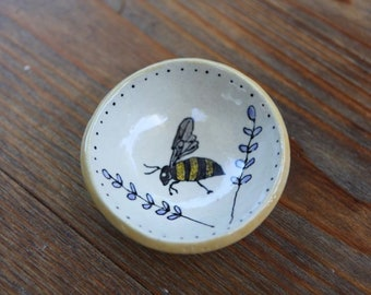 Stoneware Ring or Soap Dish with Bee and Lavender