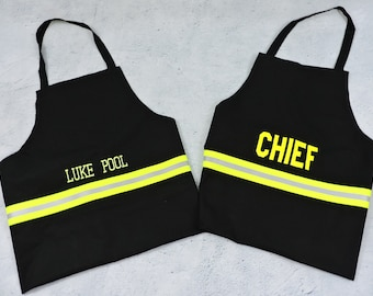 Firefighter apron tan regular or large, personalized firefighter gift, firefighter BBQ Barbecue Chef, graduation gift, Father's Day Gift