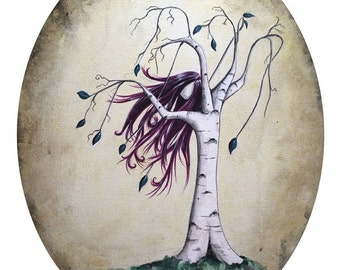Free 8x10 Art Print  - Whimsical Tree Girl with Hair Blowing in the Wind - Art by Marcia Furman