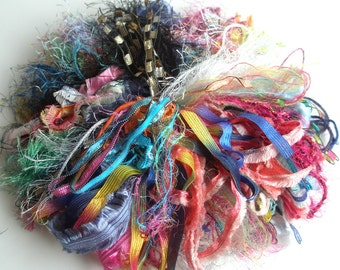20 Art Yarn Assortment in Mulitiple Colorways and Textures, Over 120 Feet of Fiber, Plush, Card, Doll and Art Quilting Fibers, Ready to Ship