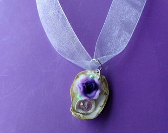 Purple rose and seashell necklace