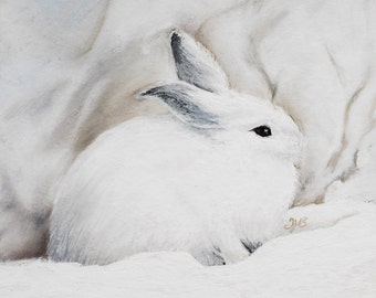 Snowshoe Hare mounted print of an original chalk pastel painting by Tracy Butler