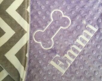 Pet Blanket Puppy Blanket Dog Blanket Personalized Pet Bedding Grey Chevron Lilac Pet Bedding Dog Bedding Puppy Bedding Pet Loss Gift