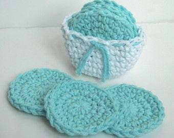 Crochet Scrubbies with Crochet Basket - Set of 7  - White, Aqua Blue - 100% Cotton