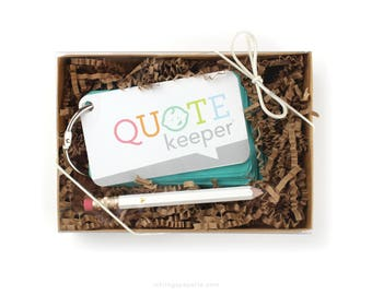 Quote Keeper™ Gift Set // Teal Blue //Quote journal, baby sprinkle gift, baby shower, baby book, baby album, new mom gift, quotekeeper, kids