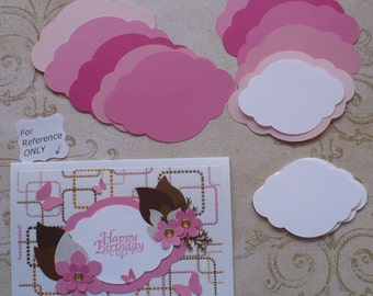 2 size Die cut Shapes 4 Layering Pinks White colors Cardstock 4 Wedding Tags Place card Label Brackets