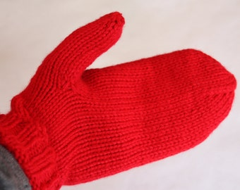 Red Mittens for Adults - Red Knit Mittens - Adult Size Mittens - Christmas Gift - Knit Red Mittens - Knit Red Gloves - Traditional Mittens