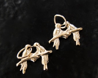 2 Gold Filled Love Bird Charms 9mm, GC19