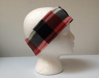 Rust plaid reversible fleece ear warmer headband, fleece headband, winter ski headband ear warmer.