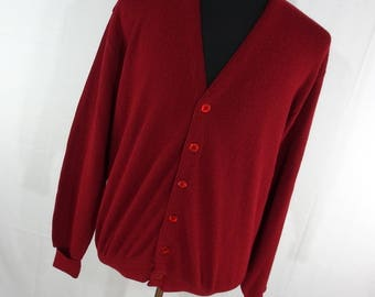 Vintage JeffLinks Cardigan Sweater Men's M Medium Maroon Red V Neck Button Down Front Lord Jeff Made In USA V6