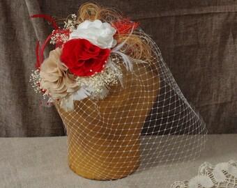 Headpiece Schleier Brautschmuck Brautschleier Rot Beige Weiss Kurzschleier bird cage Hochzeit Vintage Braut Fascinator Federn Haarschmuck