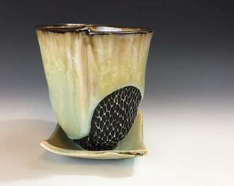 Large Orchid Pot In White Crystalline Glaze, Hand Built Ceramic Planter in Porcelain w/ Drainage Holes, Ceramic Planter for Orchids. 6.5 in.