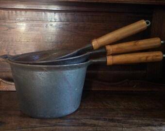 Vintage Heavy Iron Cooking Pot Saucepans circa 1970-80's / English Shop