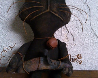 Primitive Folk Art Cat Doll - Mouse - Grungy Cat