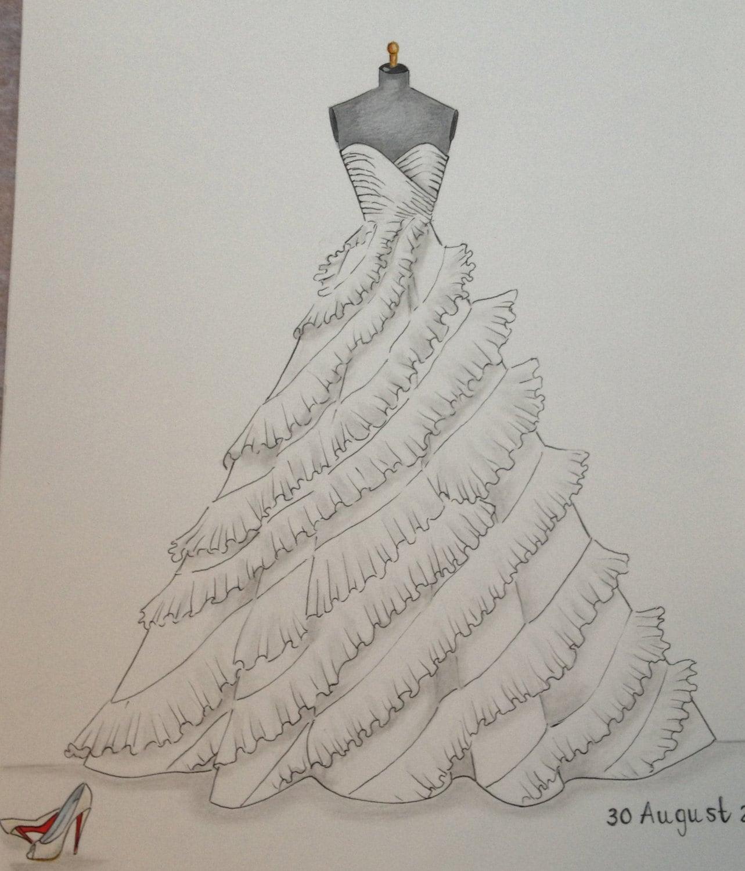 Custom Wedding Dress Sketch Hand Drawing Say