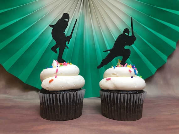 Ninja Cupcake Toppers, Karate Cupcake Topper, Ninja Party, Karate Kid Party, Birthday Cupcake Topper, Ninja Silhouette Cupcakes, wooden cake