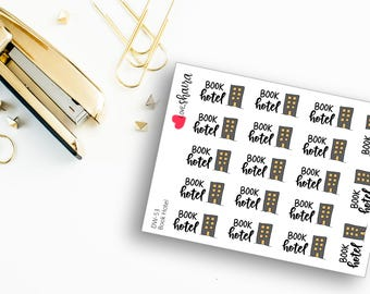 Book Hotel | Booking hotels, airbnb rental, room rental, Vacation planning, visiting - Hand Drawn Hand Lettered Planner Stickers