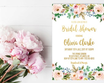 Custom Bridal Shower Invitation Gold Floral Invite Custom Bridal Invite Printable Bridal Party Custom Invitation Gold Pink Invitation Blush