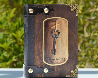 Key journal,Notebook Handmade , Personalized Journal ,Blank Notebook ,Hand Painted, Old Key Notebook, Leather Bound, Journal Skeleton key